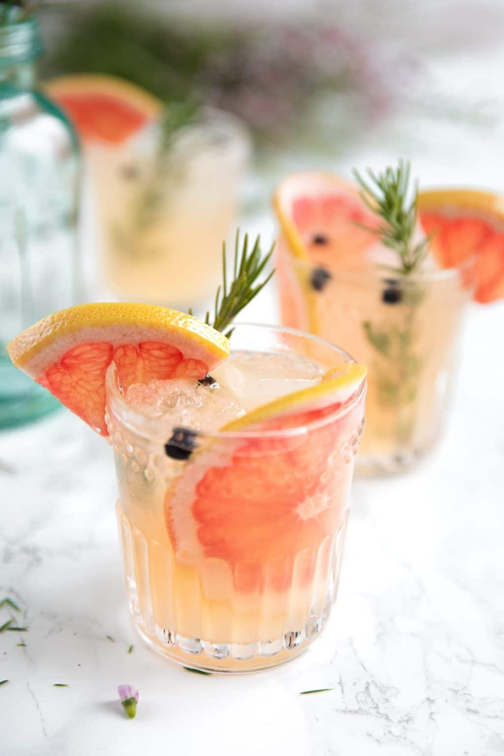 Fresh Herb Summer Cocktail Recipes - ElderFlower Grapefruit Gin and Tonic by The Forked Spoon