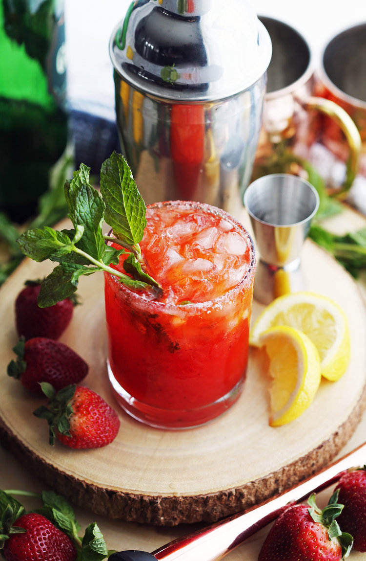 Fresh Herb Summer Cocktail Recipes - Mint Strawberry Whisky Smash by Yay for Food