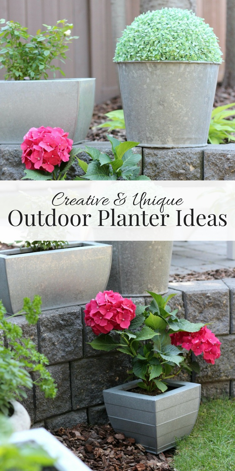 These outdoor planter ideas are a quick and easy way to add character and curb appeal to your front porch or back yard. Love those flowers in galvanized planters and faux boxwood topiary in an old metal sap bucket!