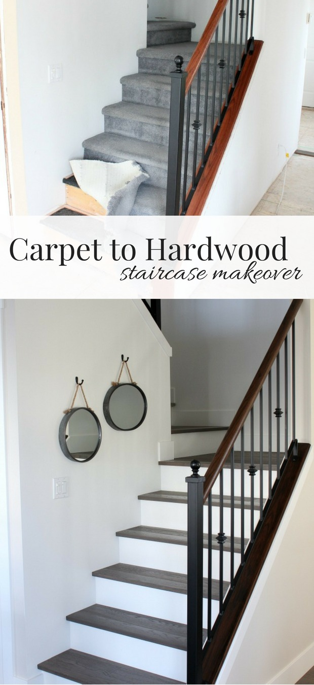 Want to transform your stairs from dingy carpet to beautiful hardwood? Check out our staircase makeover with white risers and dark treads. #hardwoodstairs #staircasemakeover