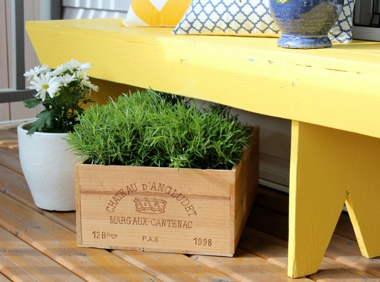 Wine Crate Planter with Herbs - Outdoor Planter Ideas - Satori Design for Living