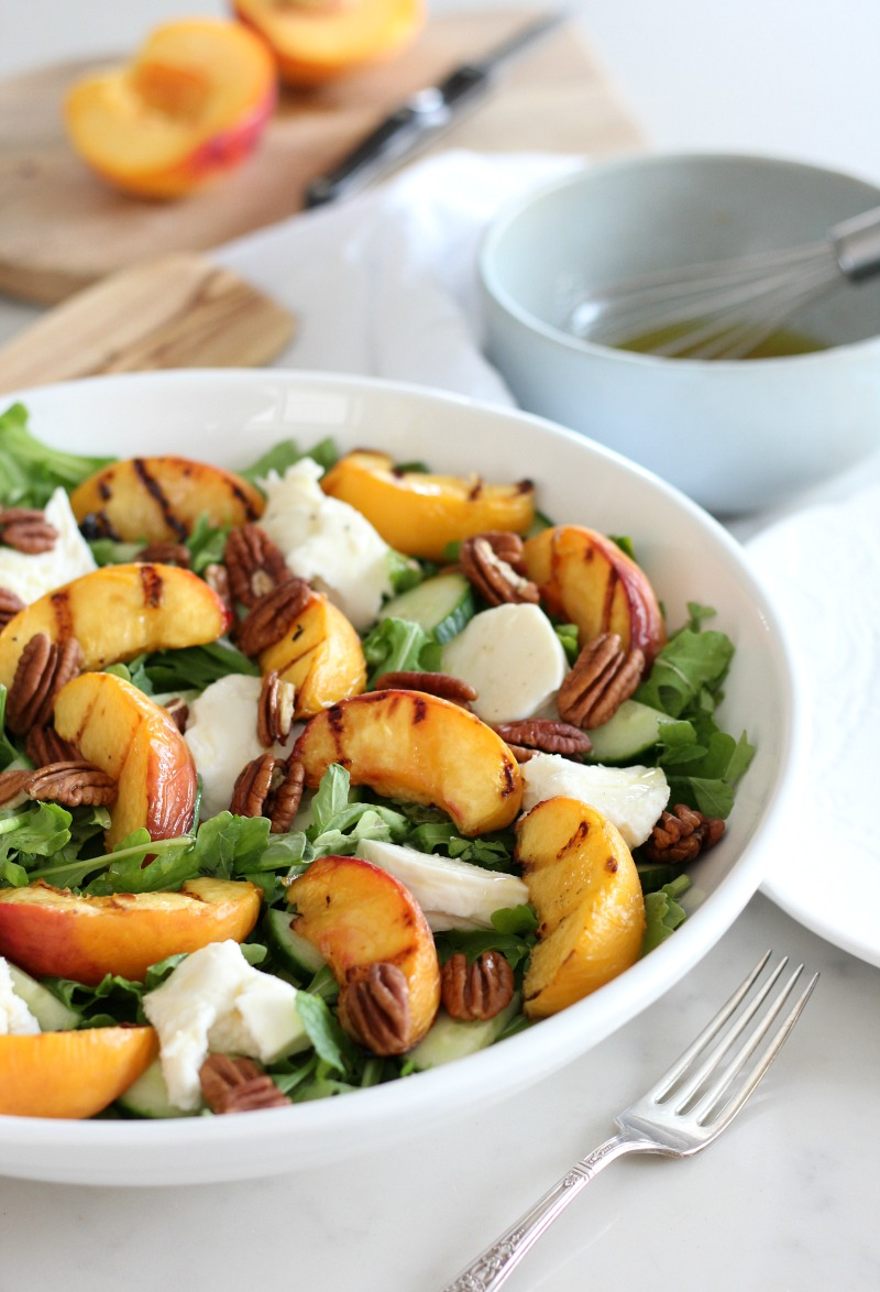 This grilled peach summer salad is an easy, wholesome and delicious lunch or dinner recipe made with sweet and juicy BC Tree Fruits peaches.
