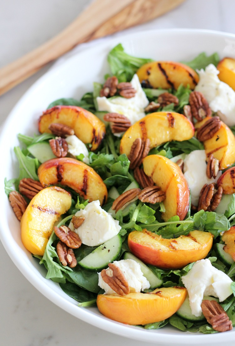 Grilled Peach Summer Salad with Spinach, Arugula, Fresh Mozzarella and Maple Vinaigrette