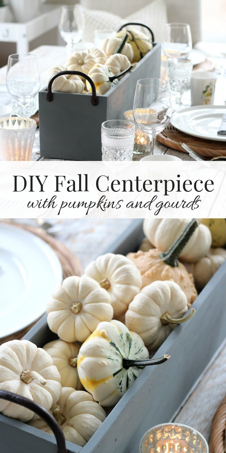 Make this faux concrete table centerpiece with pumpkins and gourds to welcome the fall season. A touch of modern along with traditional fall decor.