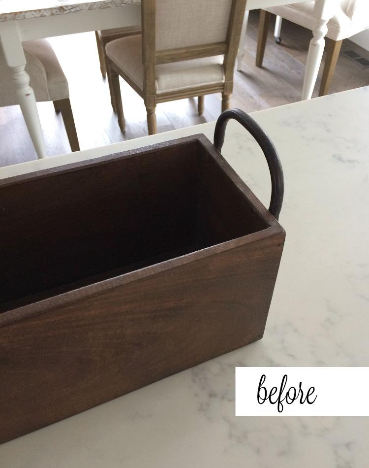 DIY Faux Concrete Table Centerpiece BEFORE - How to transform a wood box into a faux concrete planter.
