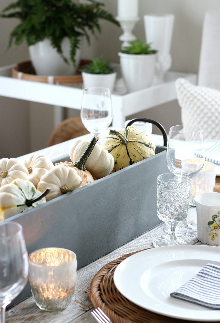 DIY Faux Concrete Table Centerpiece for Fall with Baby Boo Pumpkins and Gourds - Satori Design for Living