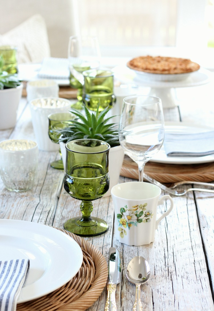 Eclectic Fall Tablescape with Vintage Floral Mugs and Green Goblets - Satori Design for Living