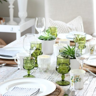 Eclectic Fall Tablescape in Green, Gold & White