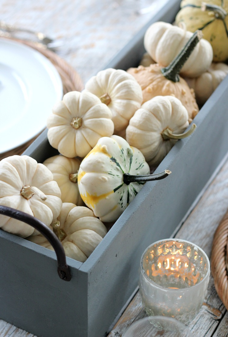 Faux Concrete Centerpiece with Baby Boo Pumpkins and Gourds
