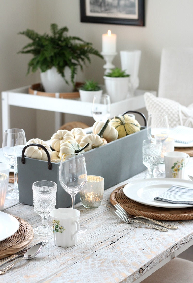 Fall Decorating Ideas - Neutral Fall Dining Room Decor -Table Setting with White Pumpkins and Gourds - Satori Design for Living