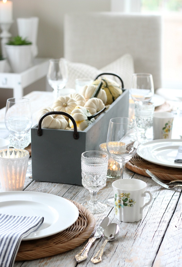Thrifted Table Setting for Fall with Concrete Planter Box Filled with Mini White Pumpkins