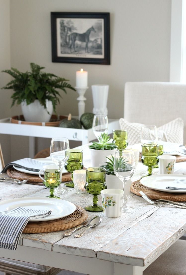Fall Eclectic Table Setting in Green, Gold and White - Fall Decorating Ideas in the Kitchen and Dining Room - Satori Design for Living