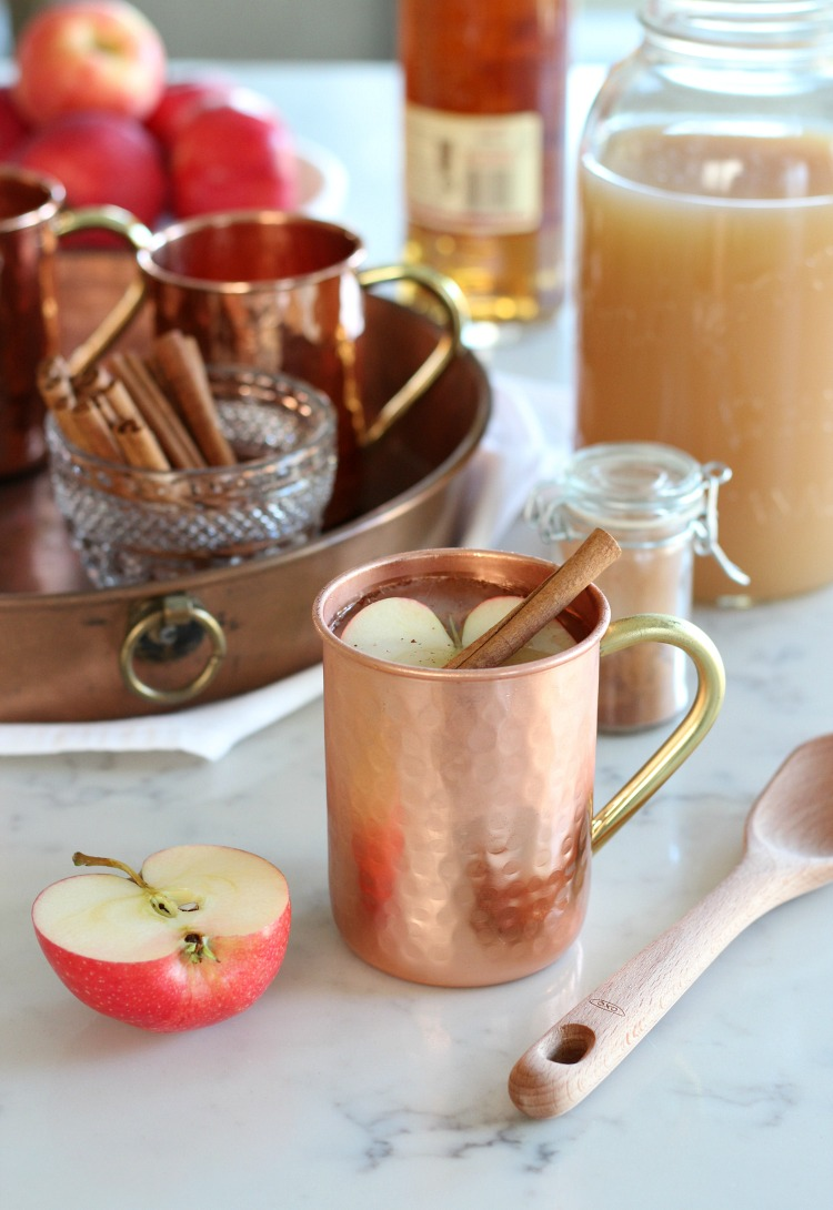 Spiked Apple Cider in Copper Mug with Cinnamon Stick and Apple Garnish