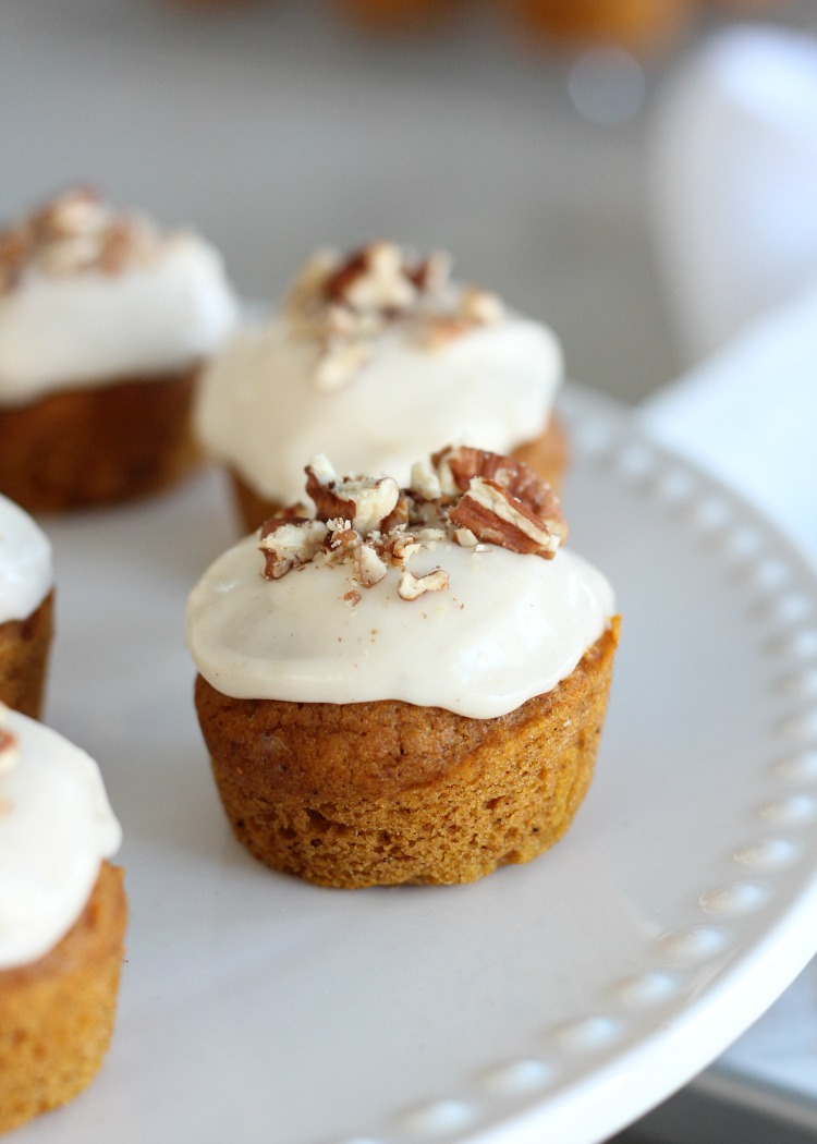 Mini Pumpkin Spice Cupcakes with Maple Cream Cheese Frosting - Fall Dessert Recipe by Satori Design for Living