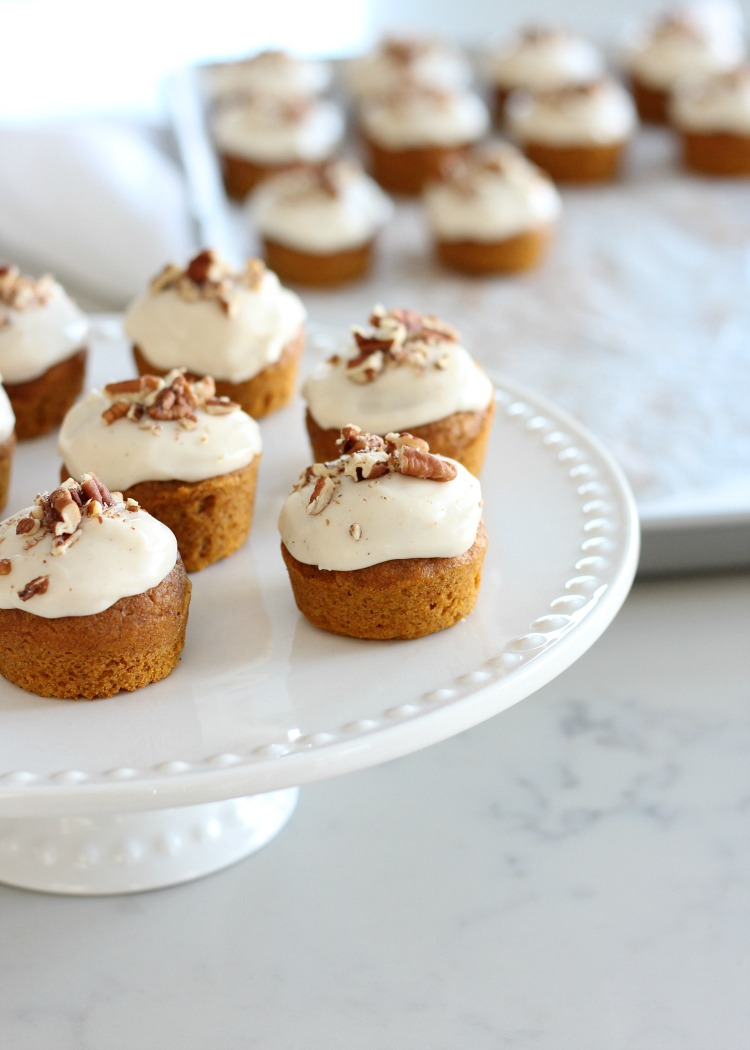 Fall Inspired Recipes - Mini Pumpkin Spice Cupcakes with Maple Cream Cheese Frosting on White Cake Plate by Satori Design for Living