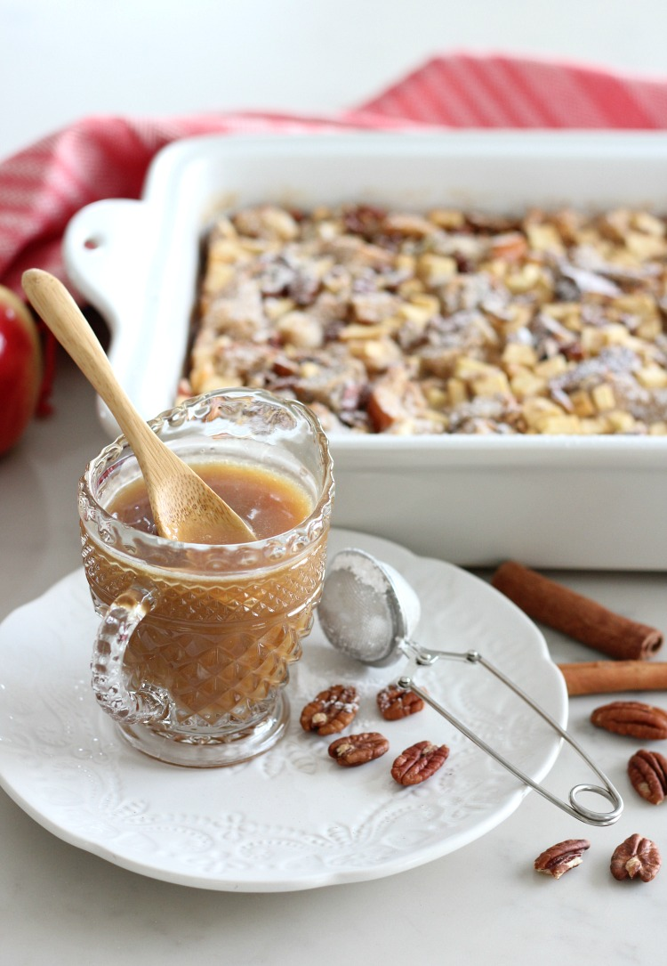 Apple Cinnamon Multigrain Bread Pudding with Salted Caramel Sauce by Satori Design for Living
