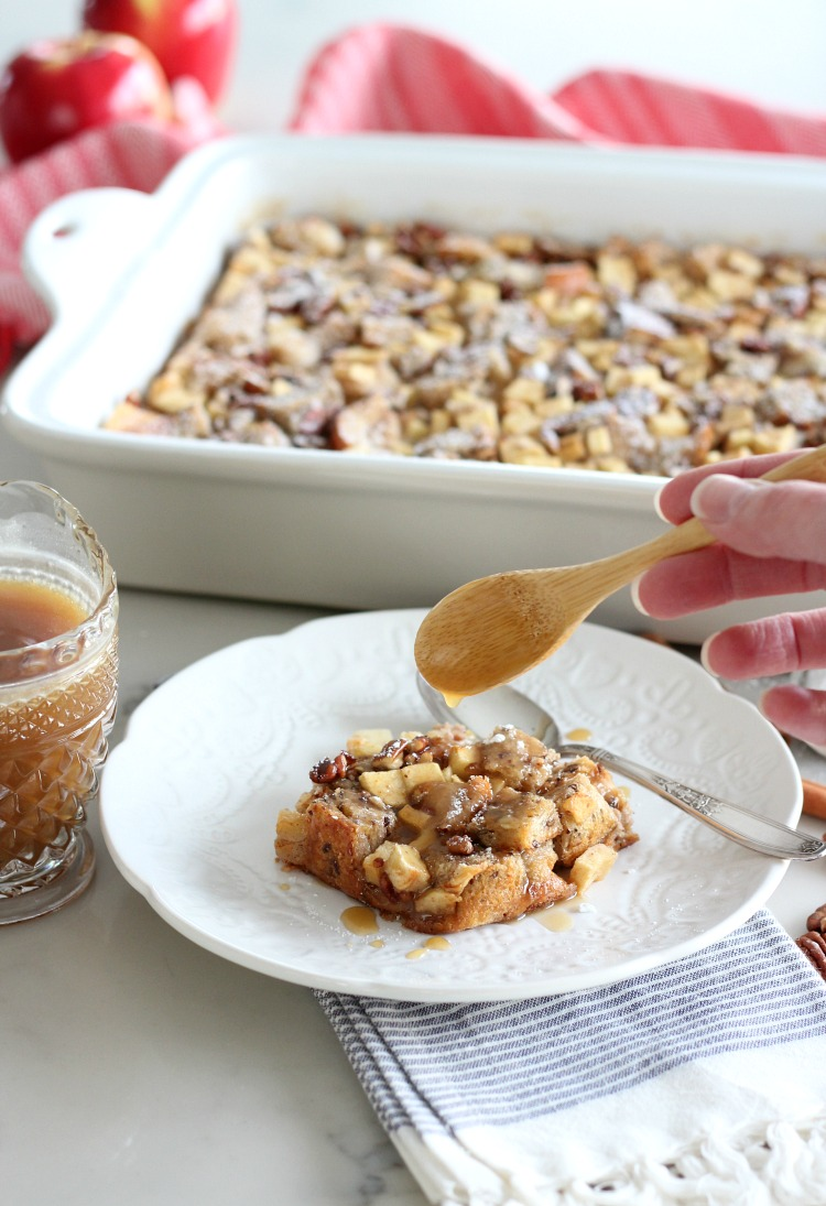 Apple Cinnamon Multigrain Bread Pudding with Warm Salted Caramel Sauce - Fall or Holiday Dessert Recipe by Satori Design for Living