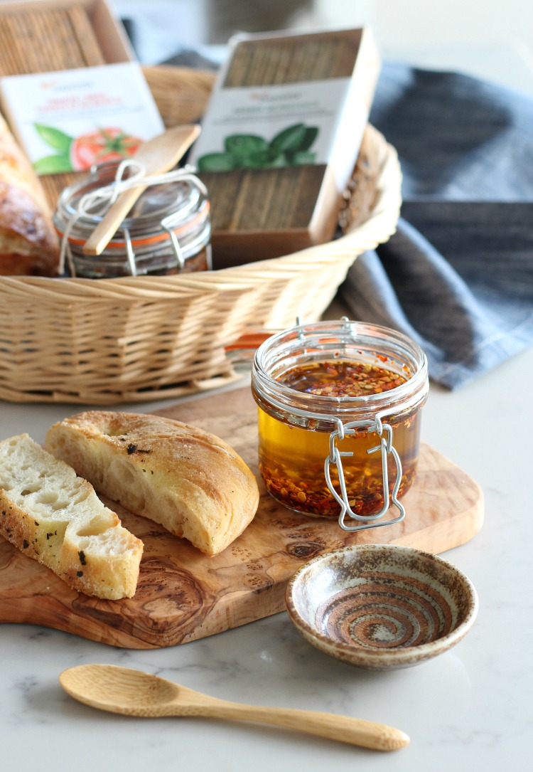 Chili and Garlic Olive Oil Holiday Appetizer - Homemade Flavoured Olive Oil Dip for Bread by Satori Design for Living