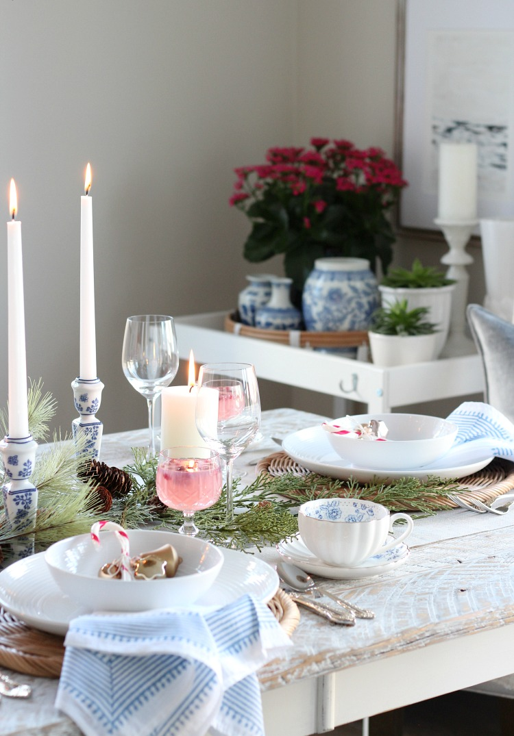 Christmas Dining Room Decorated in Pink and Blue Decor - Satori Design for Living
