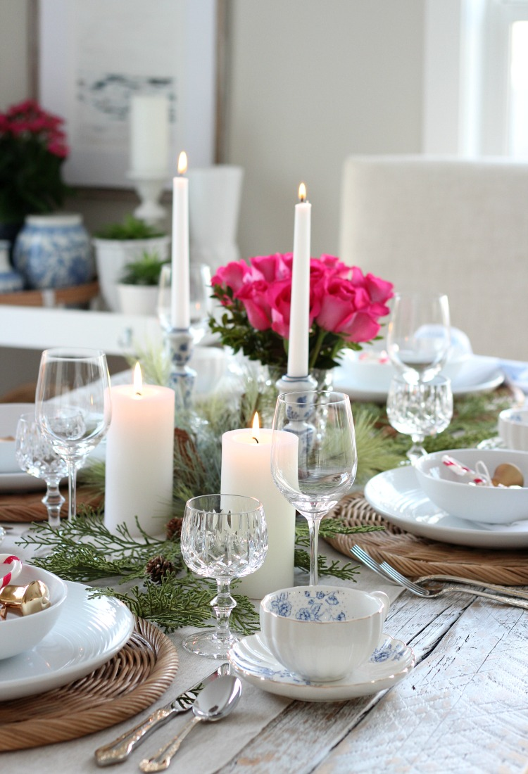 Colourful Christmas Home Tour with Pink, Blue and Gold Dining Room Decor - Satori Design for Living