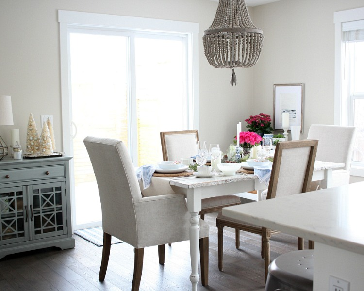 Christmas Home Tour - Neutral Dining Room with Pops of Pink and Blue - Satori Design for Living