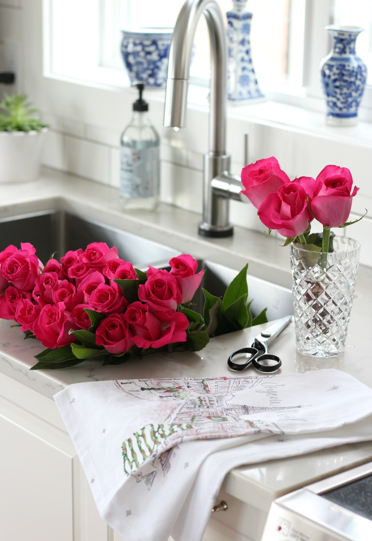 Christmas Home Tour with Bright Pink Roses in the Kitchen - Decorating a White Kitchen for the Holidays - Satori Design for Living