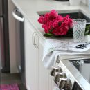 Christmas Home Tour with Bright Pink Flowers and Rug - Satori Design for Living