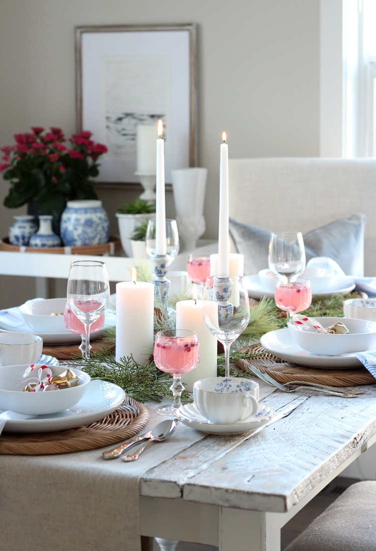 Colourful Christmas Table Setting in Pink, Blue and Gold - Christmas Dining Room Decor - Satori Design for Living