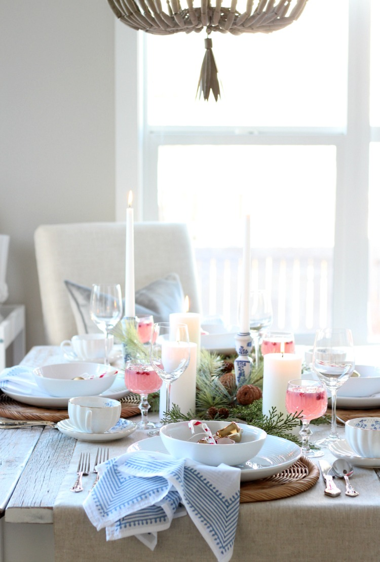 Pink, Blue and Gold Christmas Table Setting - Holiday Table with Pops of Colour and Beaded Chandelier - Satori Deign for Living