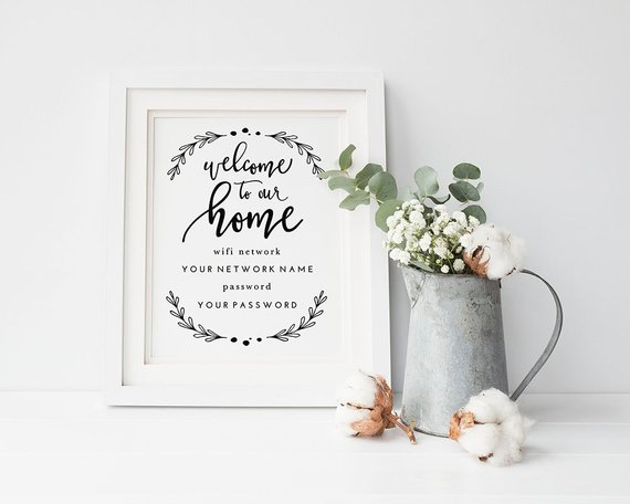 Hand Lettered Wifi Password Printable by Tumbalina Studio - Getting Ready for Overnight Guests this Christmas