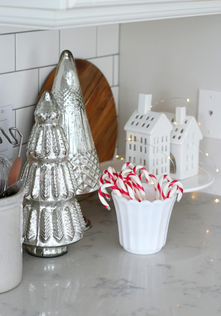 Christmas Home Tour - Kitchen with Mercury Glass Trees and White Houses - Satori Design for Living