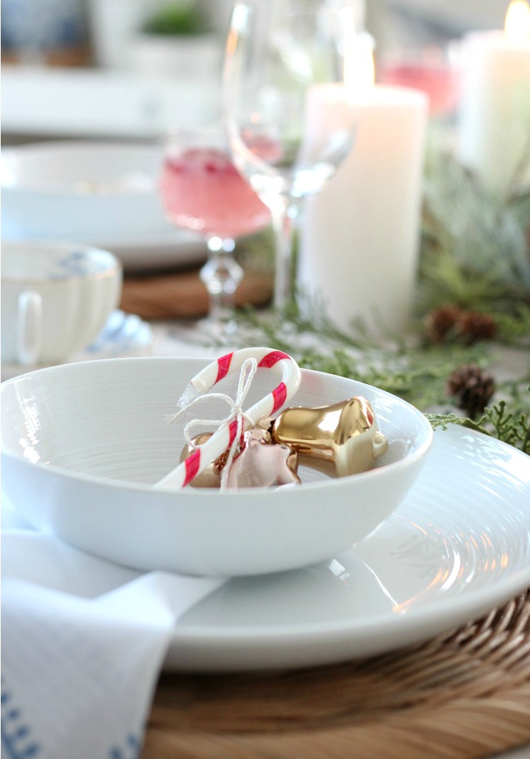 Christmas Table Setting Ideas in Pink, Blue and Gold - Pink Candy Cane Table Favours for Christmas - Satori Design for Living