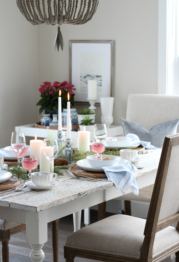 Christmas Tablescape with Pops of Colour - Pink, Blue and Gold Christmas Table Setting - Satori Design for Living