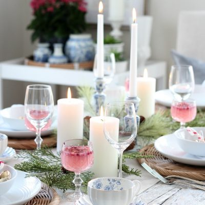 This Christmas tablescape with pops of colour was so fun to put together. See how I used pink, blue and gold decor to create a cheery and festive look for the holidays.