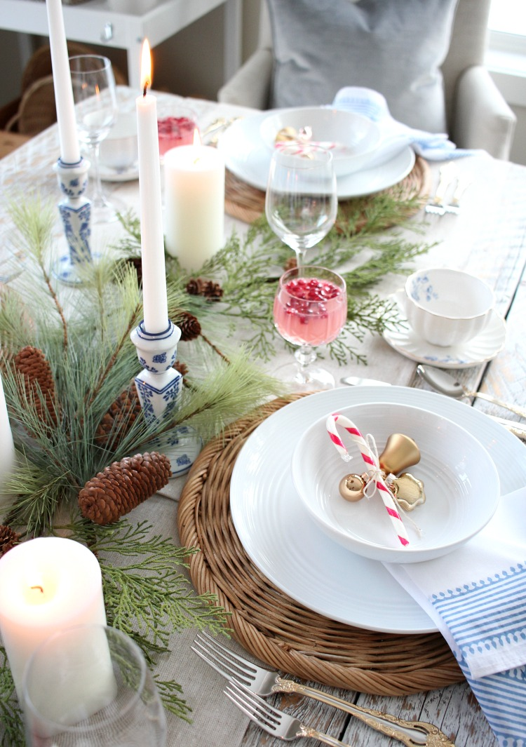Christmas Table Setting in Pink, Blue and Gold - Thrift Shop Table Finds - Satori Design for Living