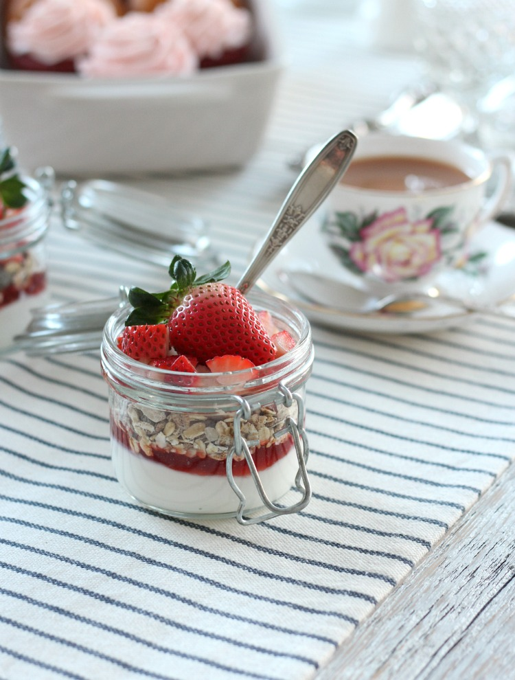 Strawberry Yogurt Parfaits for Valentine's Day - Easy Valentine's Day Breakfast Recipe - Satori Design for Living