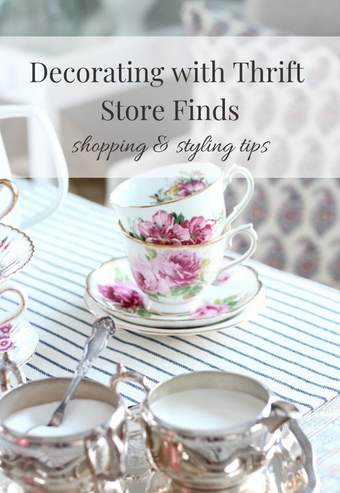 Want to learn how to decorate with thrift store finds? I'm sharing my best shopping tips for scoring the good stuff, plus home styling tips. #thriftstorefinds