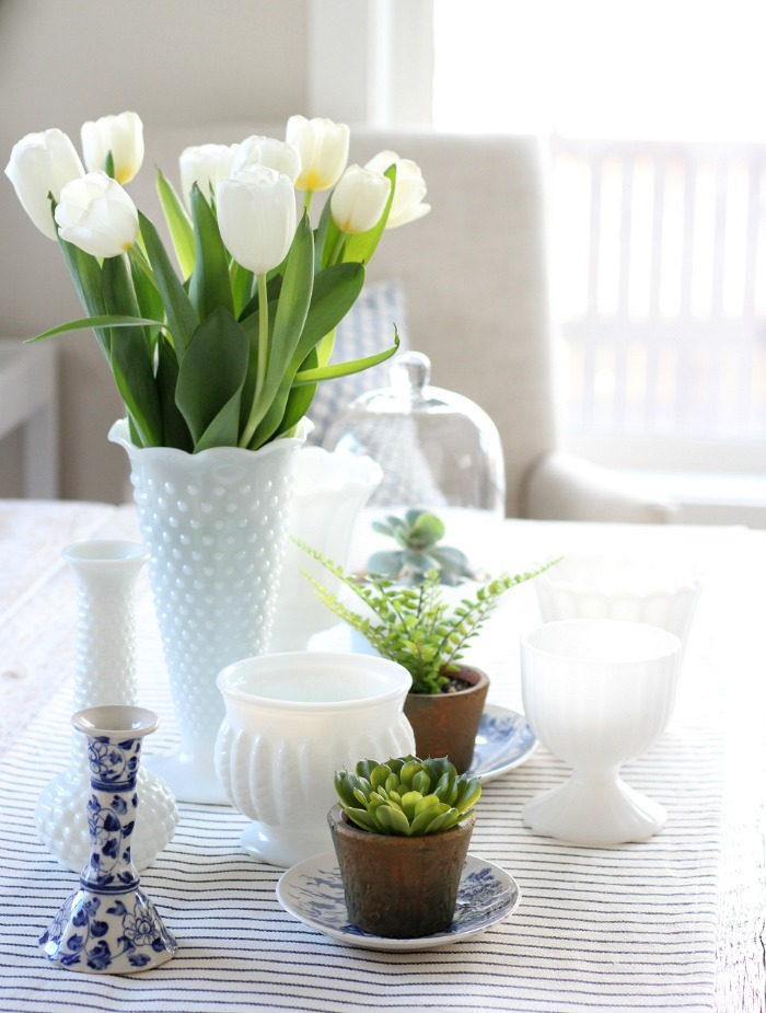 Milk Glass Table Decor with Plants for Spring