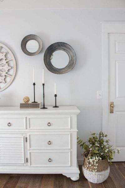 Dresser Makeover Using White Paint and New Pulls - The Honeycomb Home