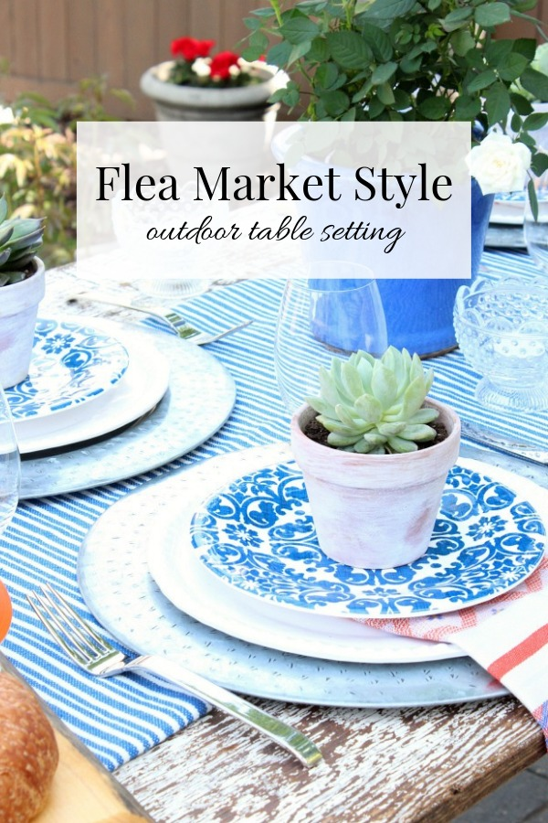 Flea Market Style Outdoor Table Setting with Rustic Table, Milk Glass, Potted Succulents and More - Satori Design for Living