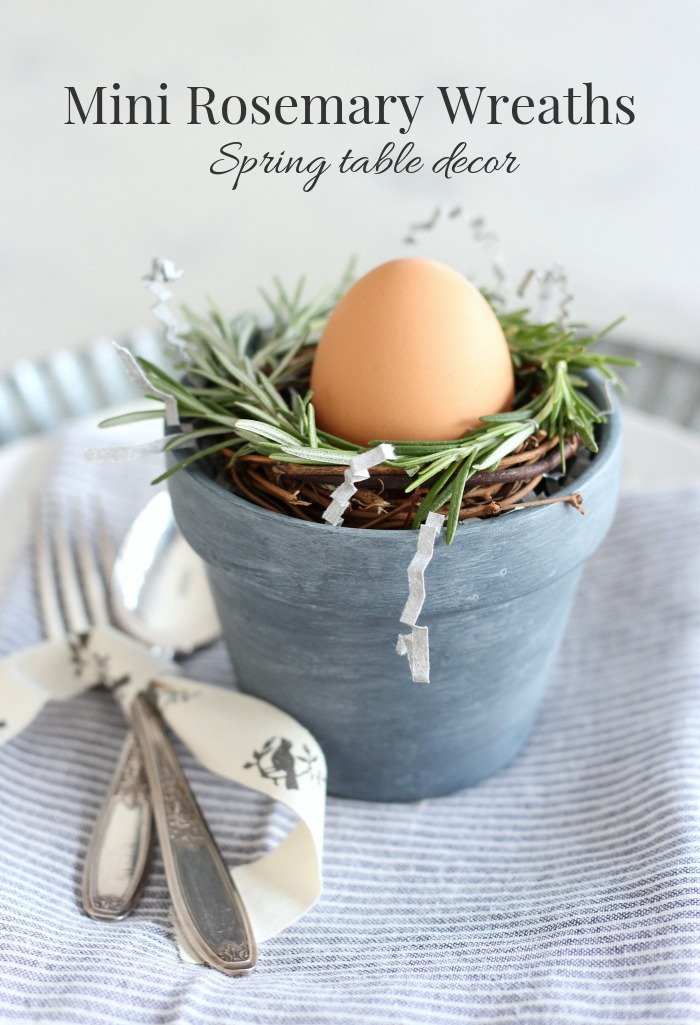 These mini rosemary wreaths are a creative and pretty way to dress up any Spring table. See how simple they are to make along with more Spring wreath ideas.