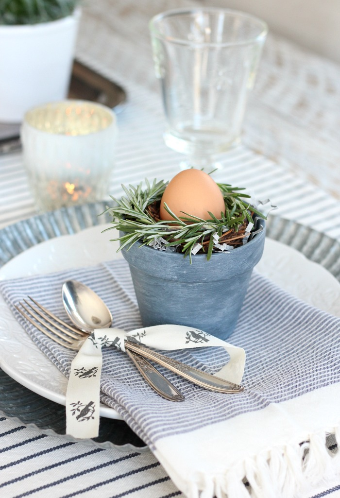 DIY Mini Rosemary Wreath Spring Table Setting Decorations - Satori Design for Living