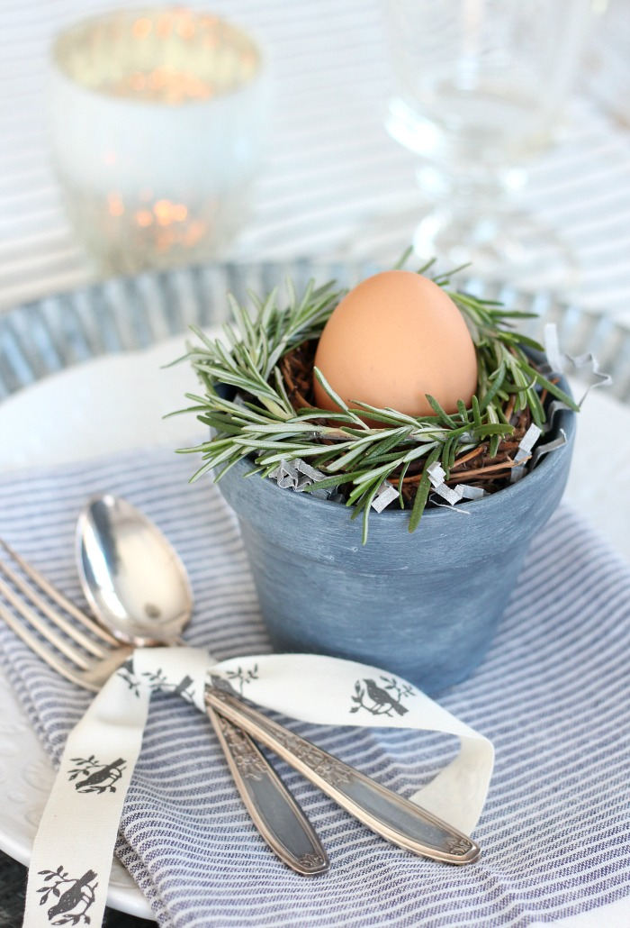 Mini Rosemary Wreaths in Small Pots with Easter Eggs - DIY Spring Table Setting Idea - Satori Design for Living