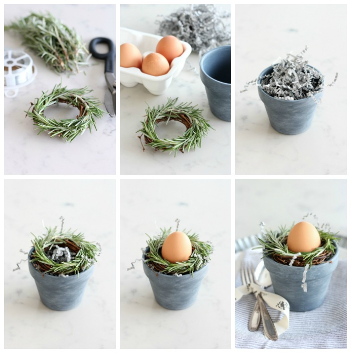 Mini Rosemary Wreaths in Concrete Painted Pots - DIY Spring Table Decorations - Satori Design for Living