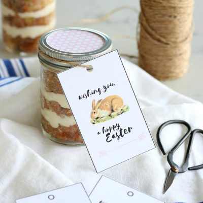 Hoppy Easter Free Printable Tags with Carrot Cake Jars - Satori Design for Living