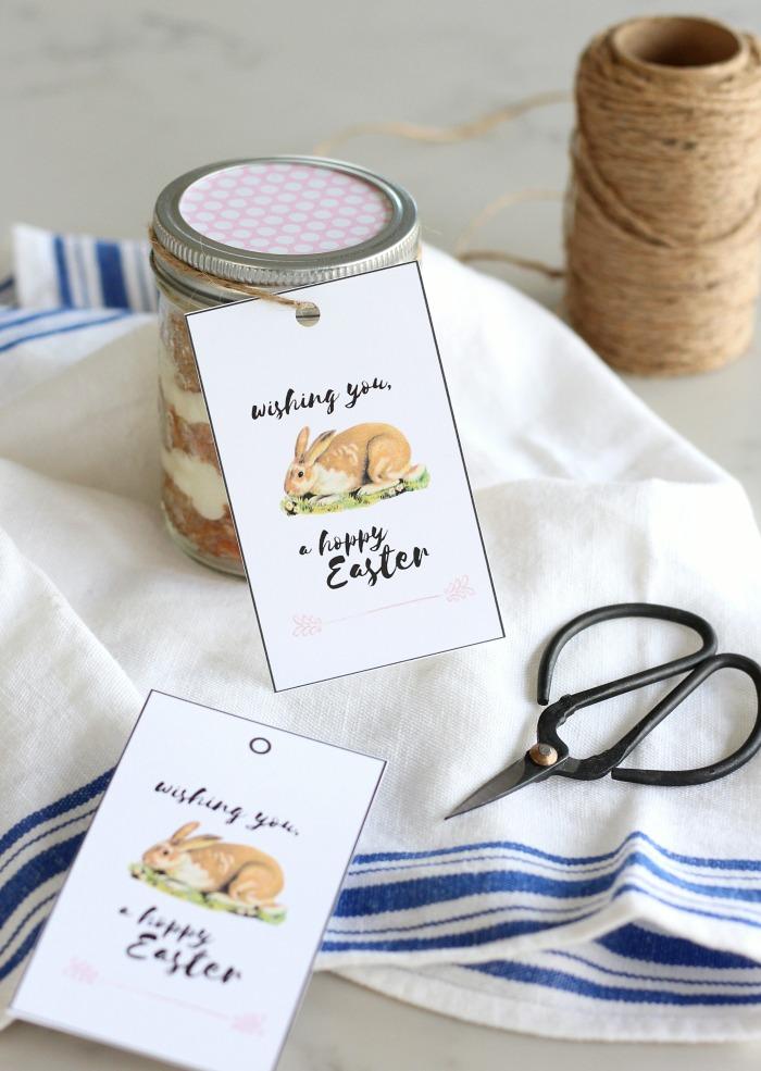 Hoppy Easter Printable Gift Tags with Homemade Carrot Cake Jars Easter Dessert Idea - Satori Design for Living
