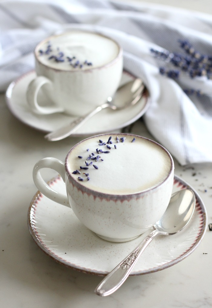 Lavender London Fog Latte Recipe - Pretty Mugs Filled with Delicious Tea Lattes for Mother's Day - Satori Design for Living