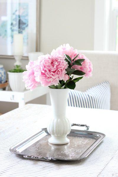 Pink Peonies in Milk Glass Vase