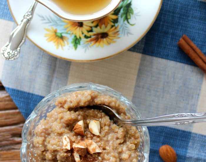 Coconut Quinoa Breakfast Pudding with Tea in Yellow Floral Tea Cup and Saucer