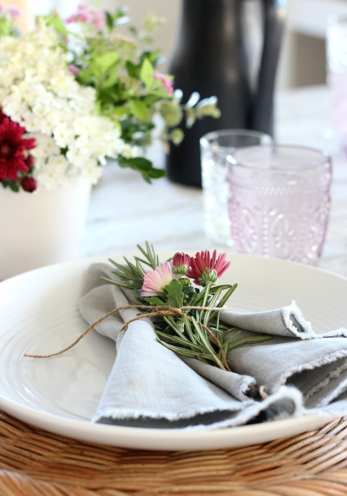 Fall Table Decor - Napkins Tied with Jute String, Rosemary and Pink Mums